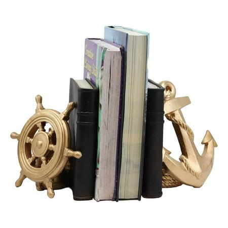 Ebros Nautical Coastal Marine Home Decor Ship Anchor and Captain's Helm Wheel Bookends Pair Set Statue 7.5