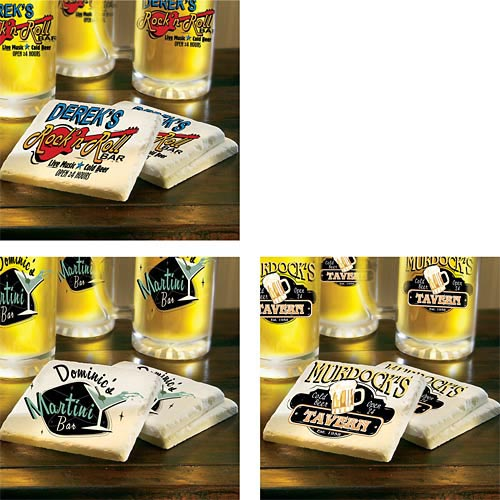 Personalized Bar Theme Coasters - Set of 4