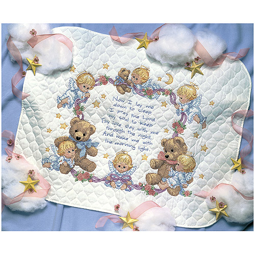 "Dimensions ""Nighttime Prayer"" Stamped Cross Stitch Quilt Kit, 43"" x 34"""