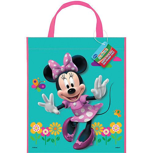 "Large Plastic Minnie Mouse Favor Bag, 13"" x 11"""