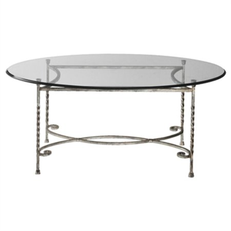 44 twisted silver metal clear tempered glass oval coffee table. Black Bedroom Furniture Sets. Home Design Ideas