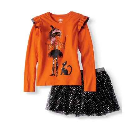 Halloween Ruffle Long Sleeve T-Shirt & Foil Mesh Skirt, 2-Piece Outfit Set (Little Girls & Big Girls) - Girl Duos For Halloween