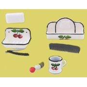 Dollhouse Shaving Accessories 6Pcs Painted Cherrie