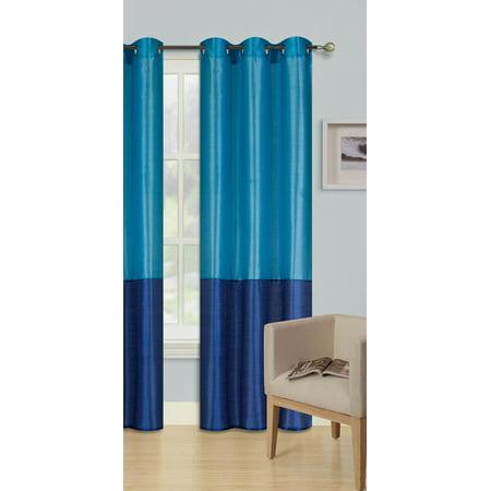 1pc TURQUOISE ROYAL BLUE HEIDI Faux Silk Drape Panel Top Chrome Metallic Grommet Window Curtain Treatment Drape 2 Shade 37 wide x 95 - Royal Silk Blue Emerald