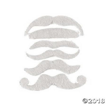 12 Synthetic Mustache Assortment - Costume Moustache (White)](Costume Moustache)