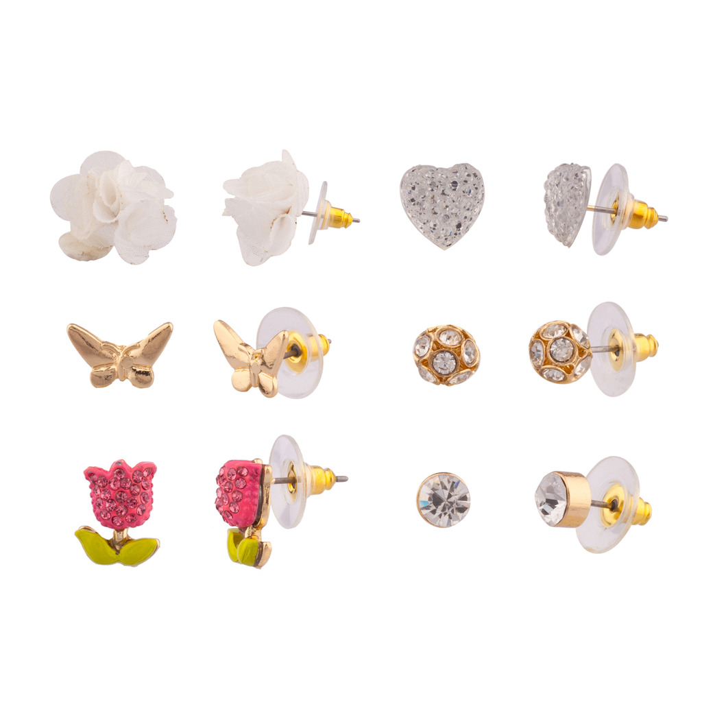 Lux Accessories Pave Tulip Butterfly Floral Flower Pave Crystal Heart Multiple Stud Earrings Set Women's Girls & Kids
