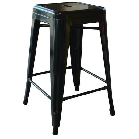 Amerihome Loft Black 24 Inch Metal Bar Stool