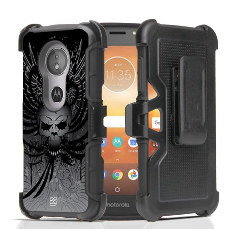 Beyond Cell Rugged Dual Layer Armor Kickstand Cover Case with 360 Degree Rotatable Swivel Belt Clip Holster and Atom Cloth Moto E5 Play, Moto E Play 5th Gen - Black Death Winged Skull