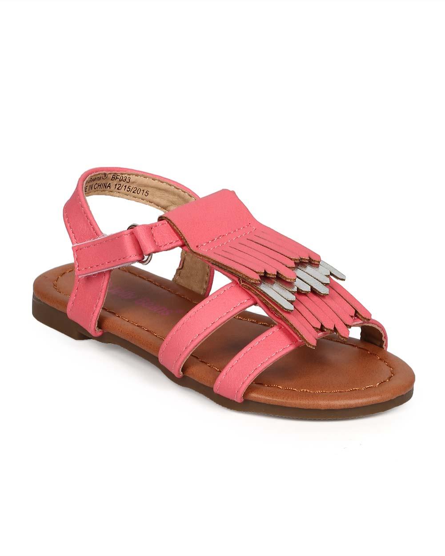 EC12 Leatherette Open Toe Fringe Velcro Gladiator Sandal (Toddler/ Little Girl/ Big Girl)