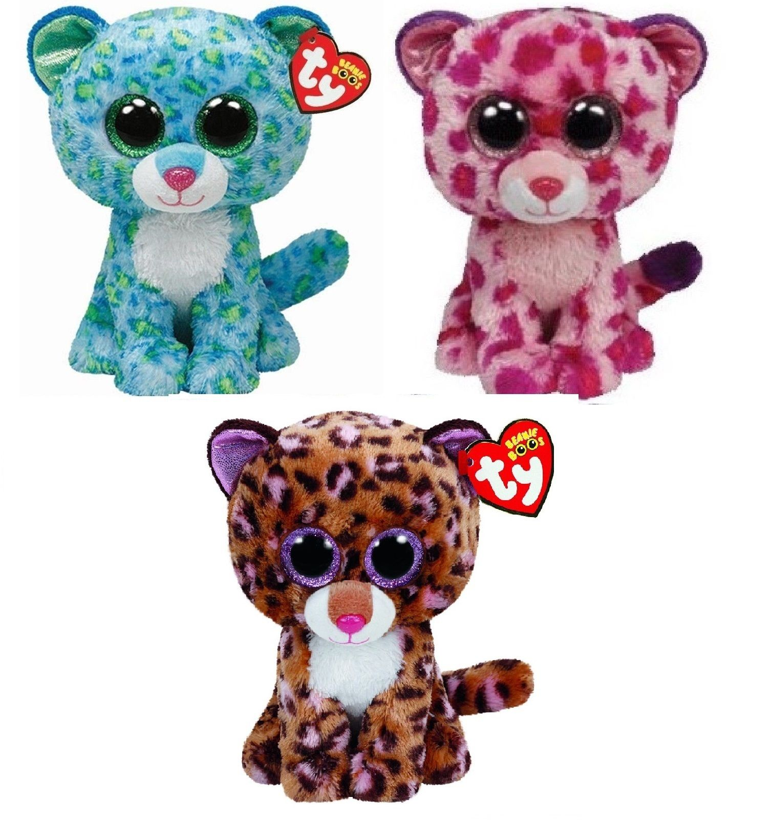Ty Leona Glamour Patches The Leopards Set Of 3 Beanie Boos Stuffed