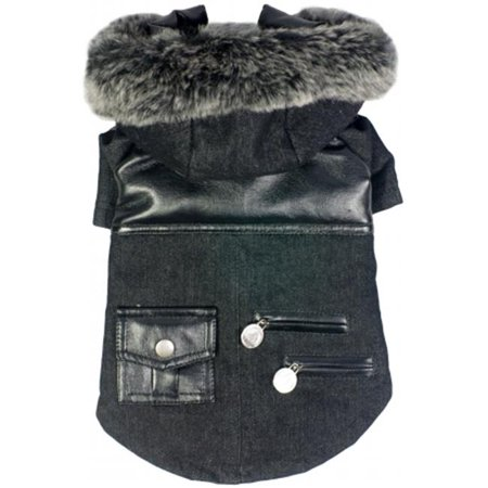 Ruff-Choppered Denim Fashioned Wool Pet Coat - image 1 de 1