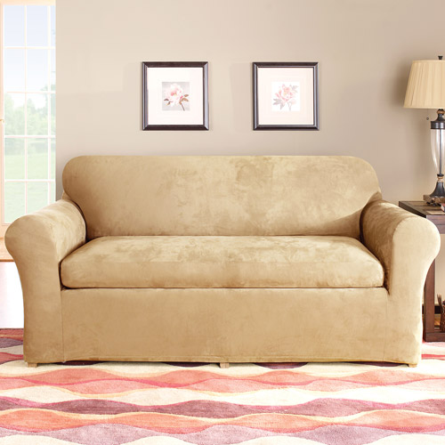 Superbe Sure Fit Stretch Suede 2 Piece Sofa Slipcover