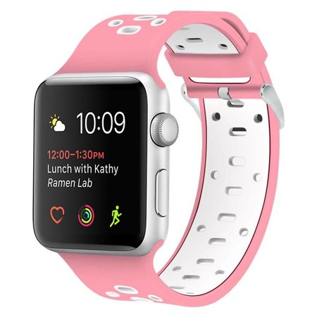 Apple Watch Breathable Band 38mm 42mm, Soft Silicone Replacement Wristband Sport Strap for Apple Watch Nike+, Series 2, Series 1, Sport, Edition (42mm - Pink/White)