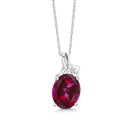 10K White Gold Pendant 10x8mm Set with Oval Blazing Red Topaz from Swarovski