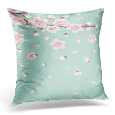 USART Pink Vertical with Cherry Blossom Spring Flowers Falling Petals Retro Place for Your Text Design Pillow Case Pillow Cover 18x18 (Falling Cherry Blossoms)