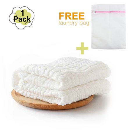 Baby Bath Towels -- Muslin Baby Bath Towel and Blanket for Newborn Infants, 100% Medical Grade Natural Antibacterial Cotton for Sensitive Skin, Super Soft Cotton Gauze -- Best Mothercare Gift!