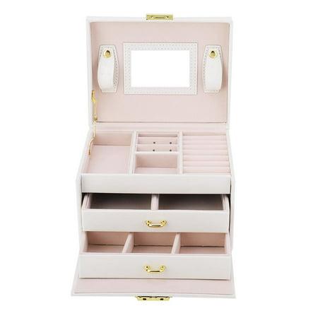HURRISE 3 Tiers PU Leather Jewelry Storage Case Display Box Holder Organizer with Mirror  , Jewelry Storage Case,Jewelry Display Box Leather Collar Display 2 Tier