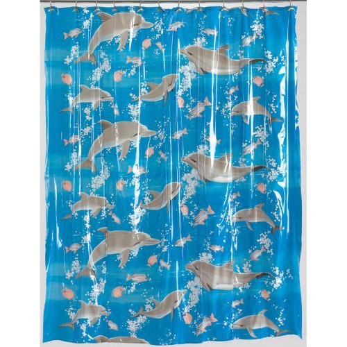 Carnation Home Fashions Dolphins Vinyl Print Shower Curtain