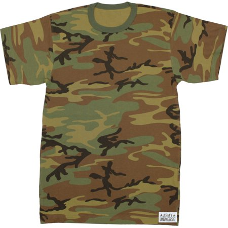Woodland Camouflage Short Sleeve T-Shirt with ARMY UNIVERSE Pin - Size X-Small