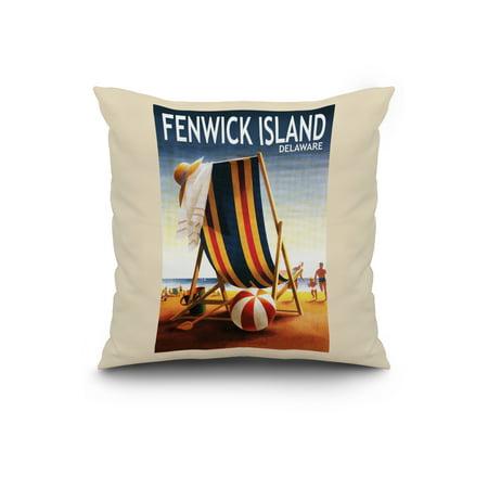 Fenwick Island Delaware Beach Chair and Ball Lantern Press Poster 20x2