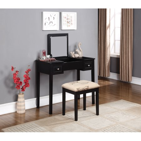 Linon Black Butterfly Vanity Set, including Mirror and Stool
