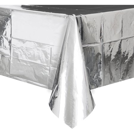 Foil Plastic Tablecloth, 108 x 54 in, Silver, 1ct (Silver Tablecloths)