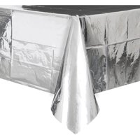 Foil Plastic Tablecloth, 108 x 54 in, Silver, 1ct