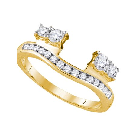 Gift Wrapped Heart Chastity Ring - 14kt Yellow Gold Womens Round Diamond Ring Guard Wrap Solitaire Enhancer 1/2 Cttw Diamond Fine Jewelry Ideal Gifts For Women Gift Set From Heart