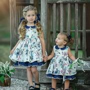 Pretty Kids Baby Girl Princess Dress Casual Sleevless Lapel Party Birthday Dress