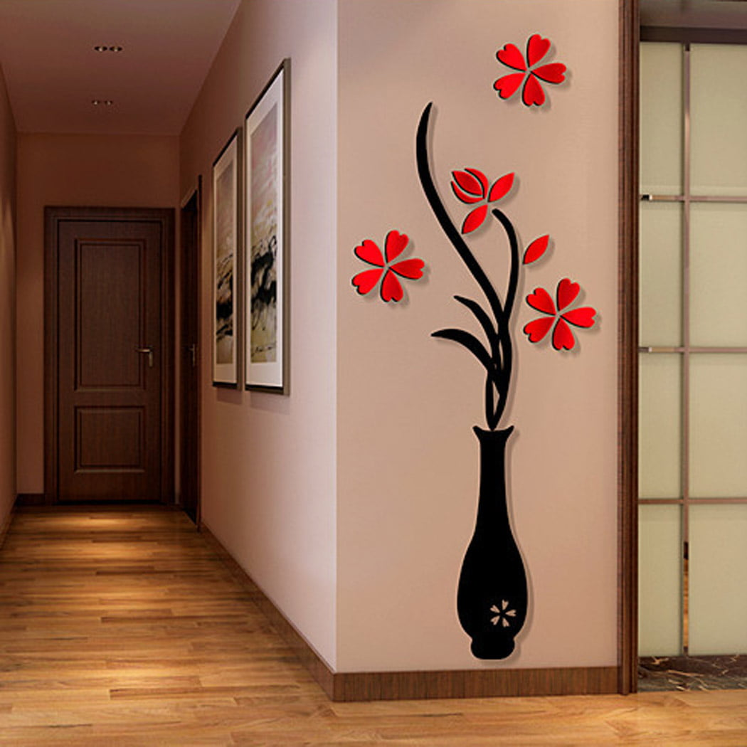 3D Wall Sticker Decals, Outgeek Removable Flowering Plant Wall Stickers Art  Wall Decor for Living Room Bedroom Bathroom Restaurant Girls Kids - ...