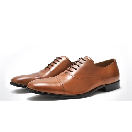 OXFORD SHOE - MENS PURE NUTS LEATHER COGNAC PAIR OF KINGS OXFORD DRESS SHOE (9.5)