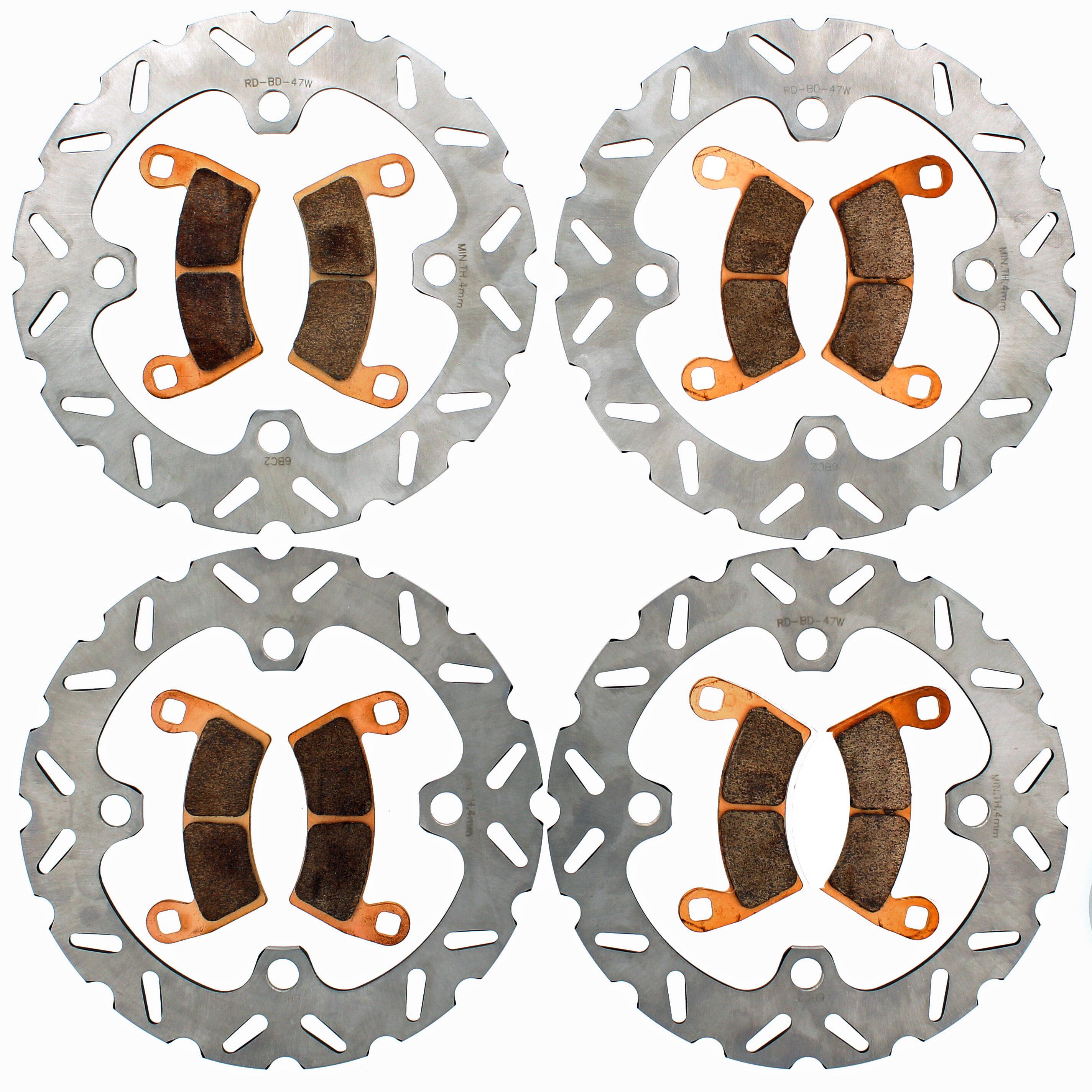 RipTide Front & Rear Brake Rotors & Pads 16-17 Polaris 1000 RZR XP 4 High Lifter