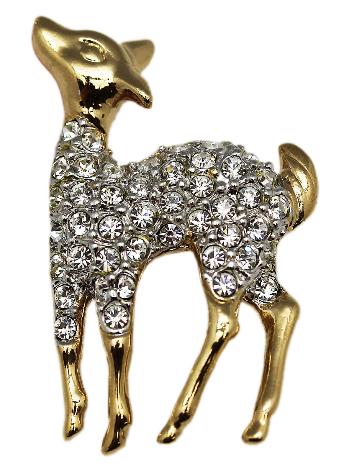 Adorable Golden Deer Brooch With Clear Rhinestones by