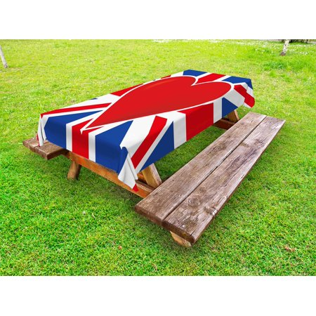 Union Jack Outdoor Tablecloth, British Flag with a Big Red Heart in Center Nationality Pride Concept, Decorative Washable Fabric Picnic Table Cloth, 58 X 84 Inches,Royal Blue Red White, by - Union Jack Table Cloths