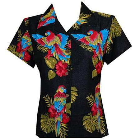 Turquoise Print Shirt - Hawaiian Shirt 39W Women Parrot Flower Aloha Beach Top Blouse Black M