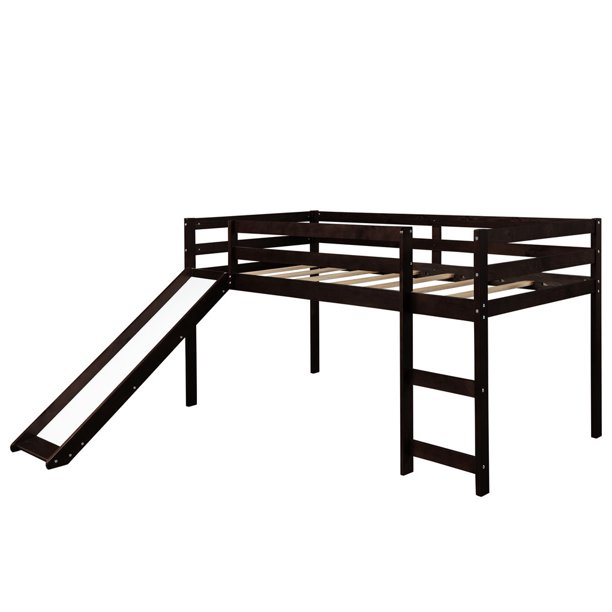 Machinehome Best Choice Kids Loft Bed Frame with Slide Twin Size Bunk Bed Solid Strong Ladder Bed for Bedroom, Coffee