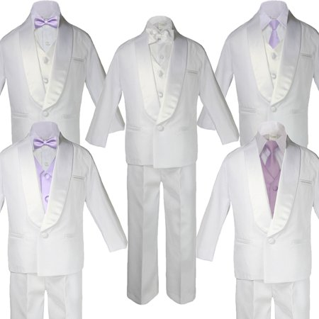 5-7pc Boy Teen White Shawl Lapel Party Suits Tuxedo LILAC Satin Bow Necktie Vest