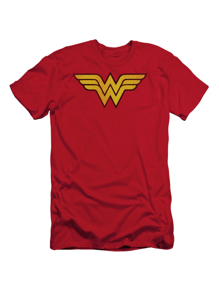 DC Comics Wonder Woman Logo Dist Adult Slim T-Shirt Tee