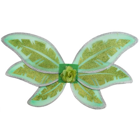 Halloween Tinkerbell Fairy Costume Wings, Green Gold Silver, One-Size