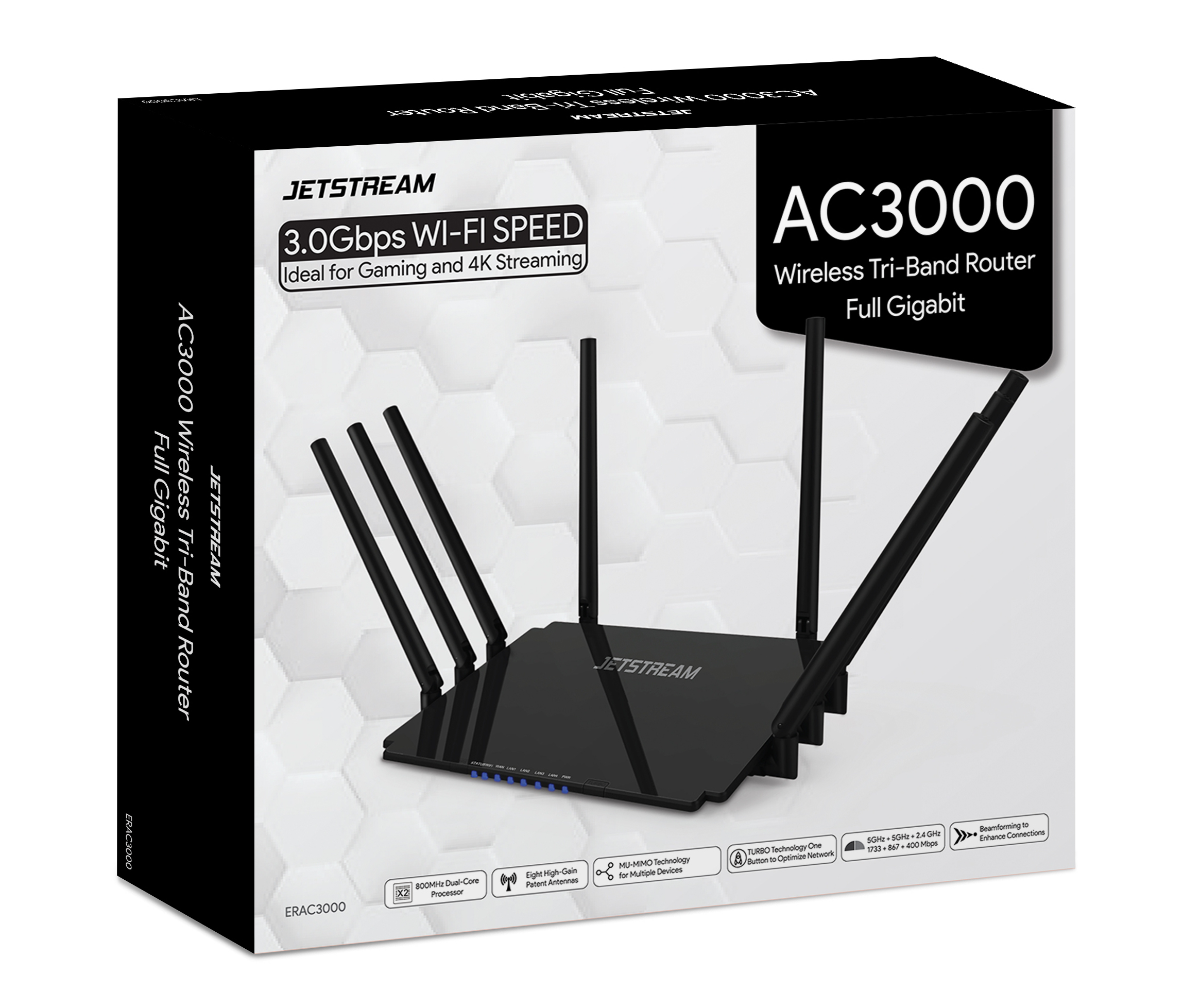 Jetstream AC3000 Tri-Band WiFi Gaming Router with 1GB RAM and 800