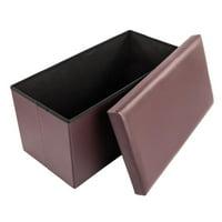 Ktaxon New Modren Rectangle Storage Ottoman Footrest Leather Black Footstool Home Décor