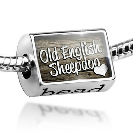 Old English Sheepdog Photo Charm (Bead Old English Sheepdog, Dog Breed England Charm Fits All European Bracelets)