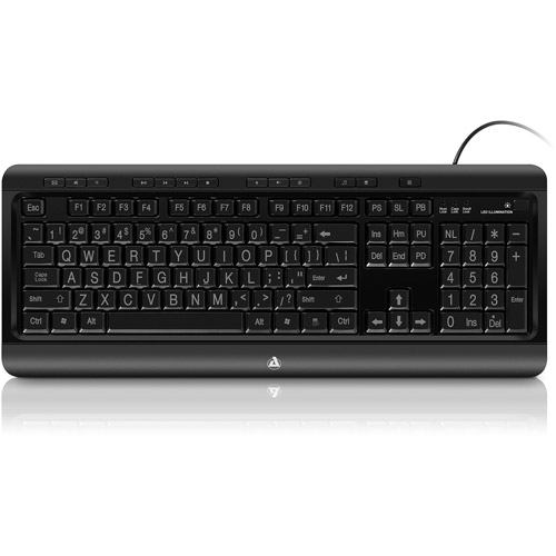 Aluratek AZIO Large Print Tri-Color Illuminated USB Keyboard