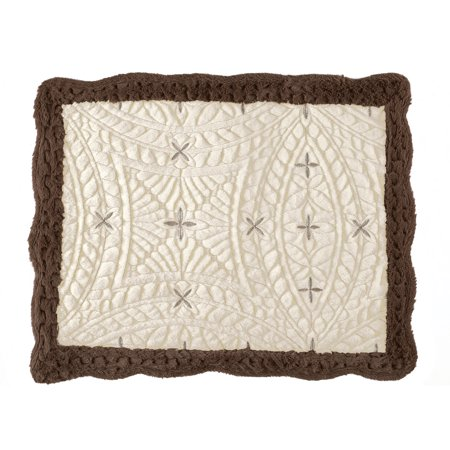 Embroidered Faux Fur Two-Toned Pillow Sham with Cross Design and Scalloped Edges - Bedroom Decor ()