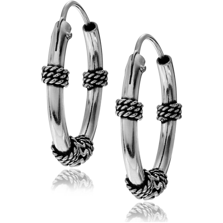 Brinley Co. Women's Sterling Silver Bali Medium Hoop Earrings