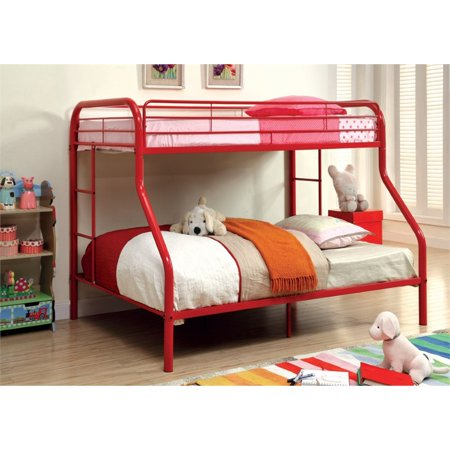 Rosebery Kids Twin Over Full Metal Bunk Bed In Red Walmart Com
