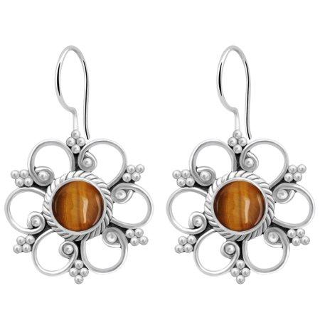 925 Sterling Silver 2 1/5 Carat Tiger Eye Hook Earrings