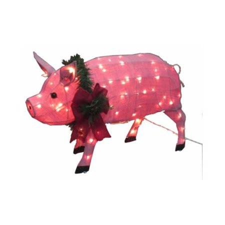 CITI TALENT LTD Christmas Decoration, Lighted Burlap Pig, 32 x 18.5-In. 54-444-087 ()