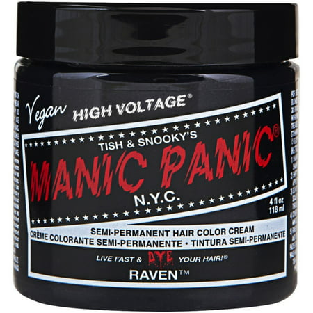Manic Panic Semi-Permament Hair Color Creme, Raven 4 (Manic Panic Cleo Rose On Brown Hair)