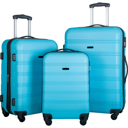 """Vicbuy 3PCS Luggage Set Hardside 4 wheel Spinner Suitcase with TSA Lock 20"""" 24' 28"""" Blue"""